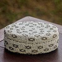 Beaded ate grass basket, 'White Dream' - Hand Crafted White and Gray Beaded Ate Grass Basket