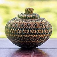 Beaded ate grass basket, 'Bali Latte' - Balinese Beaded Ate Grass Basket With Lid