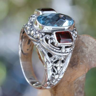 silver ring confetti wine - Blue Topaz and Garnet Silver Cocktail Ring from Bali