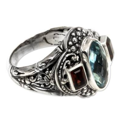 Blue Topaz and Garnet Silver Cocktail Ring from Bali