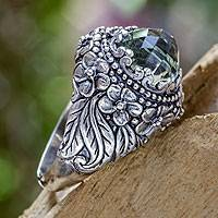 Prasiolite cocktail ring, 'Graceful Plumeria' - Prasiolite and Sterling Silver Floral Cocktail Ring
