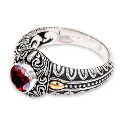 Garnet and Gold Accented Silver Cocktail Ring