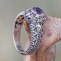 Amethyst and gold accent cocktail ring, 'Lavender Treasure' - Amethyst Gold Accented Silver Cocktail Ring from Bali