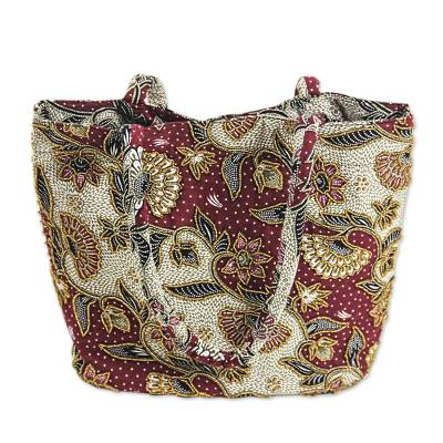 Handcrafted Beaded Batik Cotton Shoulder Bag from Indonesia