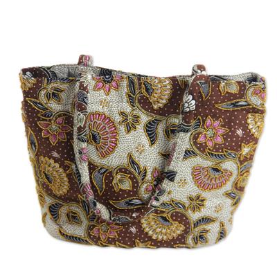Fair Trade Beaded Brown Floral Cotton Batik Tote Bag