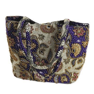 Artisan Crafted Purple Batik Shoulder Bag with Beading
