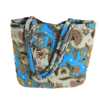 Handcrafted Cotton Batik Shoulder Bag in Blue Floral Pattern