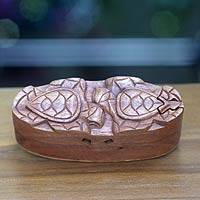Wood puzzle box, 'Turtle Romance' - Balinese Turtle Theme Wood Puzzle Box