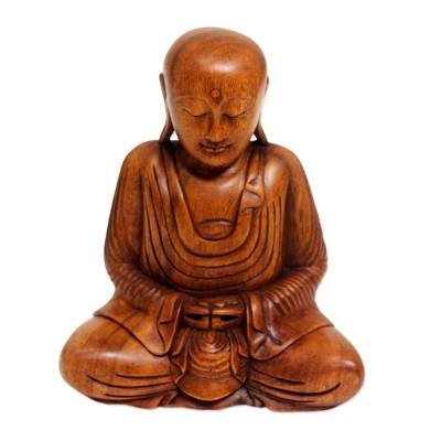Wood sculpture, 'Samadhi Buddha' - Hand Carved Wood Buddha Statuette from Bali