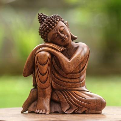 Wood statuette, Relaxing Buddha