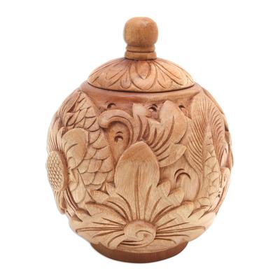 Decorative mahogany wood jar