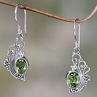 Peridot dangle earrings, 'Green Peacock's Feather' - Lacy Peridot and Sterling Silver Dangle Earrings