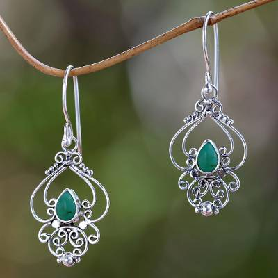 Turquoise dangle earrings, 'Turquoise Arabesque' - Ornate Natural Turquoise Dangle Earrings from Bali