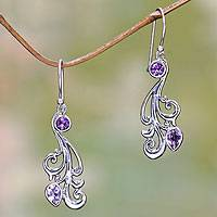 Amethyst dangle earrings, 'Vineyard Grapes' - Silver and Amethyst Dangle Earrings from Bali