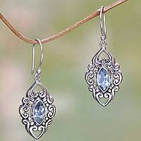 Blue topaz dangle earrings, 'Royal Seal' - Ornate Blue Topaz and Sterling Silver Dangle Earrings