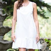 Cotton shift dress, 'White Gardenia' - Handmade White Cotton Sleeveless Shift Dress