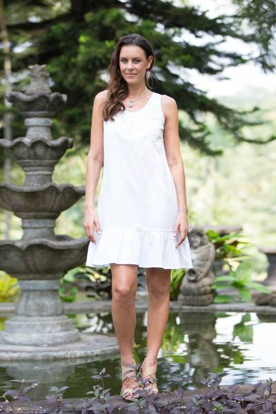 Cotton shift dress, White Gardenia