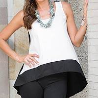 Sleeveless cotton blouse, 'White Orchid' - Women's White and Black Woven Cotton Tank Top