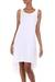 Sleeveless hi-low cotton sundress, 'Cempaka in White' - Artisan Crafted Cotton Hi-Low Sleeveless White Dress (image 2a) thumbail