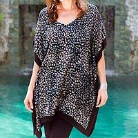 Rayon batik caftan, 'Borneo Slate' - Rayon Batik Pebble Print Loose Fitting Caftan in Shades of G