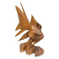 Wood statue, 'Koki Fish' - Hand Carved Wood Fish Statue from Indonesia