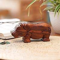 Wood puzzle box, 'Hippopotamus' - Handmade Hippopotamus Wood Puzzle Box from Bali