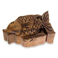 Wood puzzle box, 'Pacific Fish' - Hand Carved Wood Fish Puzzle Box from Bali