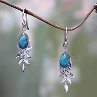 Sterling silver dangle earrings, 'Balinese Bay Leaf' - Sterling Silver and Reconstituted Turquoise Earrings