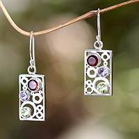 Multi-gemstone dangle earrings, 'Color Bubbles' - Gemstone and Sterling Silver Dangle Earrings