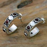 Garnet half-hoop earrings, 'Red Moons' - Balinese Sterling Silver and Garnet Half-hoop Earrings