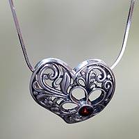 Garnet heart pendant necklace, 'Blooming Heart' - Sterling Silver Heart Pendant Necklace with Garnet