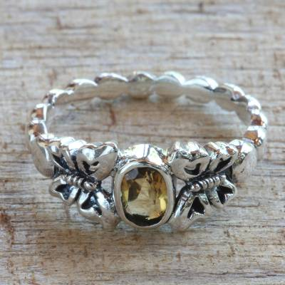 Citrine cocktail ring, 'Honey and Butterflies' - Hand Crafted Citrine Sterling Silver Butterfly Cocktail Ring