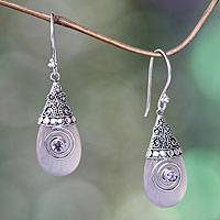 Rose quartz dangle earrings, 'Mount Bromo Dawn' - Rose Quartz and Amethyst Sterling Silver Dangle Earrings