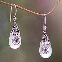 Chalcedony dangle earrings, 'Mount Bromo Mist' - Chalcedony and Amethyst Sterling Silver Dangle Earrings