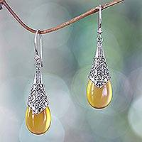 Chalcedony dangle earrings, 'Puncak Jaya in Yellow' - Balinese Sterling Silver and Yellow Chalcedony Earrings