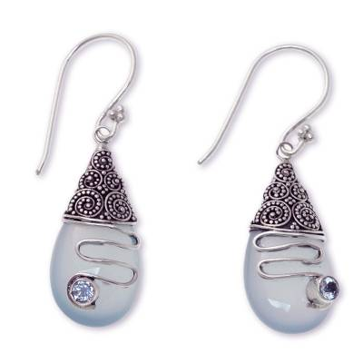 Aqua Chalcedony and Blue Topaz Sterling Silver Earrings