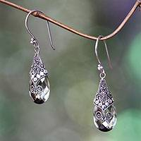 Prasiolite dangle earrings, 'Drop of Nature' - Balinese Style Prasiolite and Silver Dangle Earrings