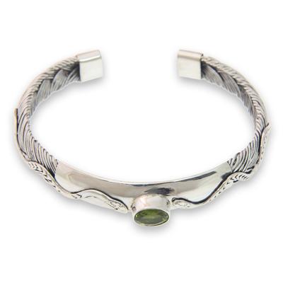 Snake Motif Cuff Bracelet with Peridot