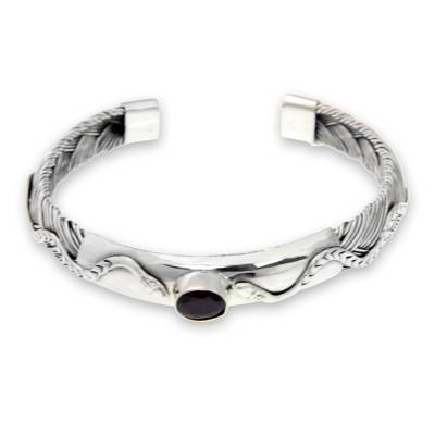 Sterling Silver and Garnet Cuff Bracelet with Snake Motif