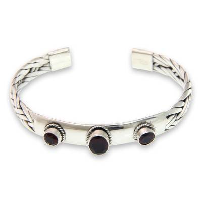 Braided Sterling Silver Cuff Bracelet with Three Garnets