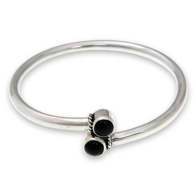 Handmade Onyx Cabochon Bangle Bracelet