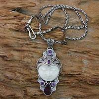 Amethyst and bone pendant necklace,