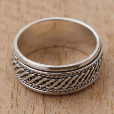 silver ring jwbr india - Handcrafted Sterling Silver Meditation Spinner Ring