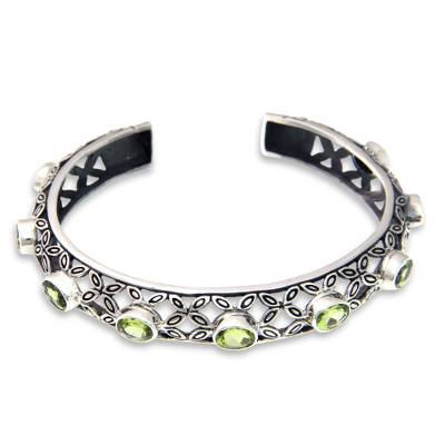 Artisan Crafted Sterling Silver and Peridot Cuff Bracelet