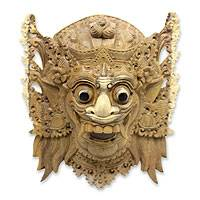 Wood mask, 'Sang Jogor Manik' - Balinese Hindu Decorative Wood Wall Mask from Bali