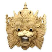 Wood mask, 'Barong Macan' - Hand Carved Acacia Wood Balinese Tiger Mask