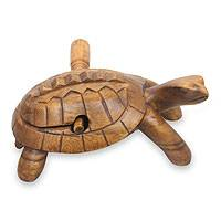Wood musical instrument, 'Balinese Turtle' - Hand Carved Balinese Rasp Musical Instrument