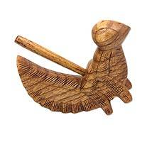 Wood musical instrument, 'Singing Grasshopper' - Hand Carved Balinese Percussion Rasp