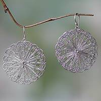 Sterling silver dangle earrings, 'Fireworks' - Handcrafted Oxidized Sterling Silver Dangle Earrings