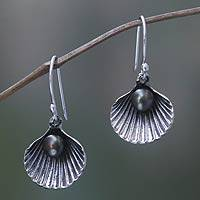 Cultured pearl dangle earrings, 'Sea Treasure in Black' - Black Pearl and Sterling Silver Shell Dangle Earrings